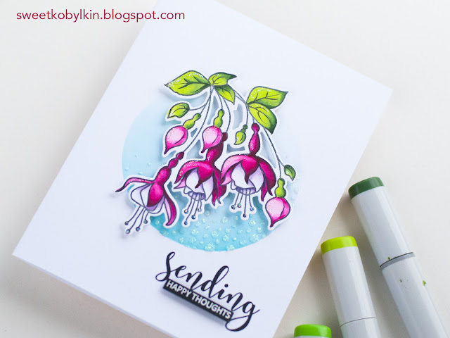 Adding Gltter Accents to A Floral Card Coloured with Copic Markers