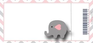 Tarjeta con forma de Ticket de Elefante Bebé en Rosado y Gris.