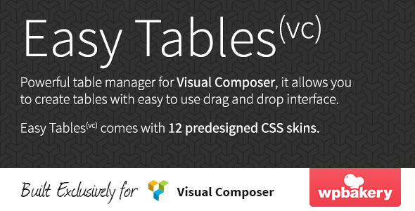 Free Download Wordpress Plugin Codecanyon Easy Tables V1.0.6 Table Manager for Visual Composer