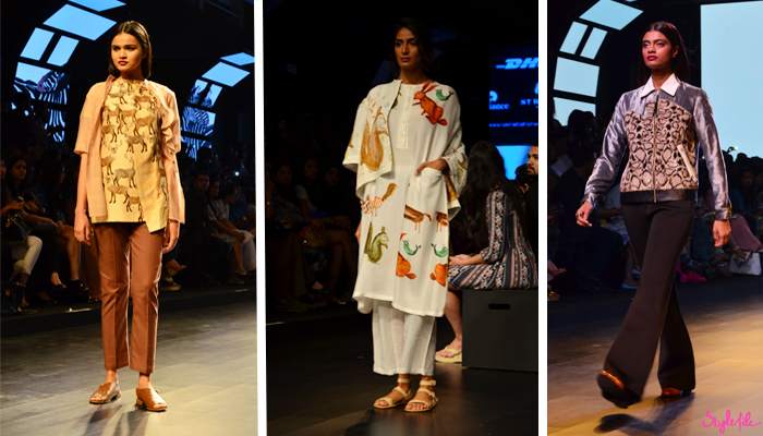 Indian designers Sneha Arora, Aartivijay Gupta and Huemn display fashion garments and clothing at Lakme Fashion Week Summer Resort 2016 captured by Style File at St. Regis Mumbai