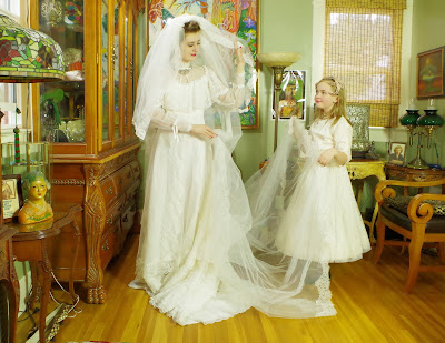 70s Edwardian Style style Chiffon and Lace Bridal Gown and Matching Veil