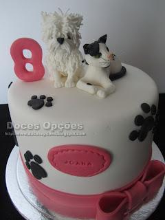 bolo cão gato doces opções