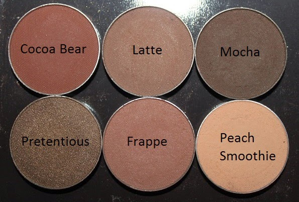 These Are Some Of My Favorite Makeup Geek Eyeshadows 1 Cocoa Bear 2 Latte 3 Mocha 4 Pretentious 5 Frappe 6 Peach Smoothie