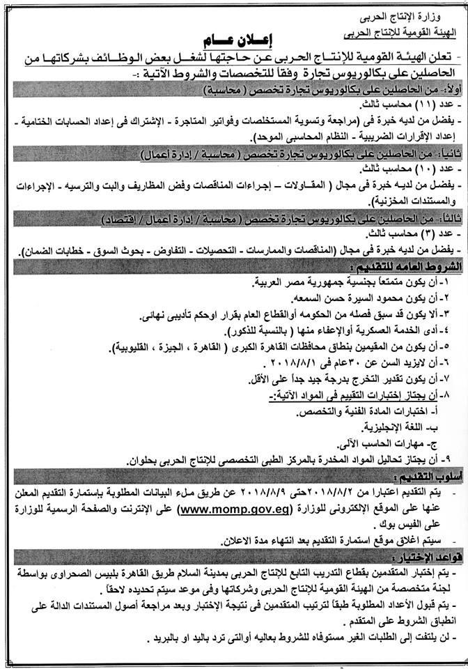 """وظائف وزارة الانتاج الحربى """" لخريجى الجامعات والمعاهد والدبلومات """" - التقديم على الانترنت"""