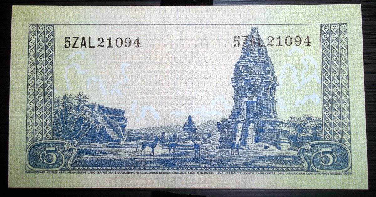 uang kuno Seri Hewan tahun 1957 pecahan 5 rupiah