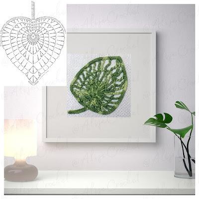 схемы вязаных листочков для декоративной картины