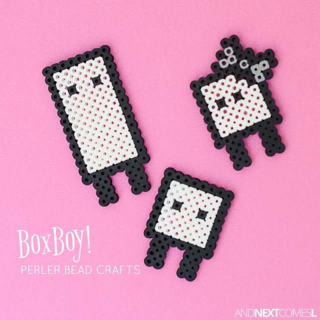 BoxBoy! video game perler bead crafts