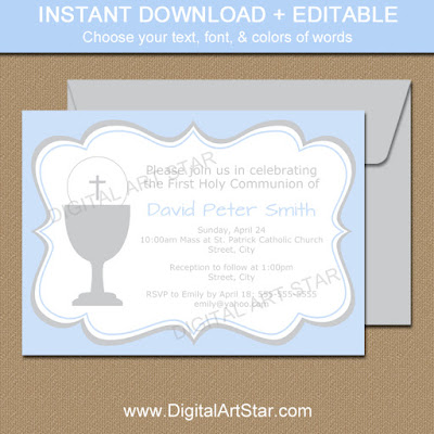 boy first communion editable invitations in blue & gray