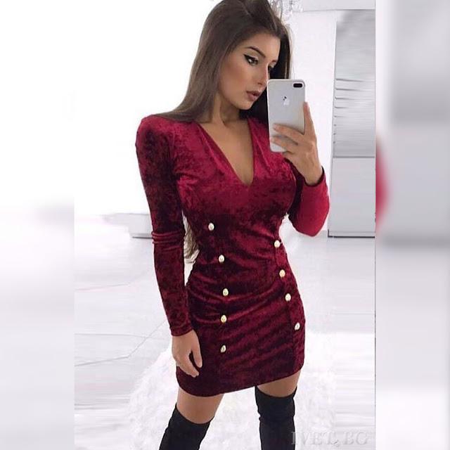 Μακρυμάνικο κοντό μπορντό φόρεμα HILDA BORDO