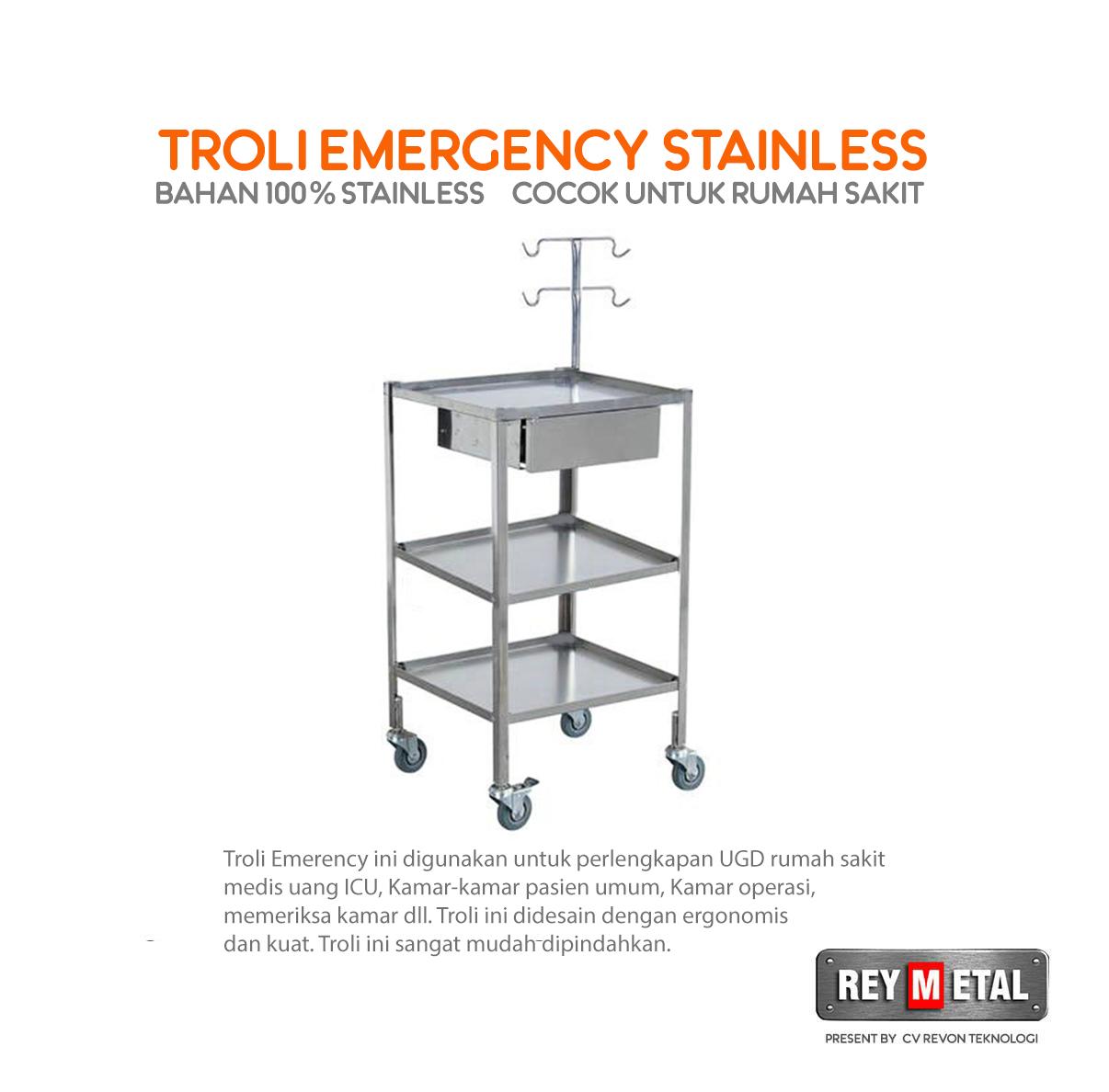 Jual Troli Darurat Rumah Sakit Bahan Stainless Steel