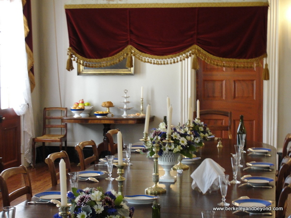dining room in plantation house at Oak Alley Plantation in Vacherie, Louisiana