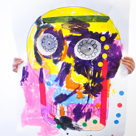Giant Dia De Los Muertos Skulls:  A fun Process Art Project to celebrate the Day of the dead with kids