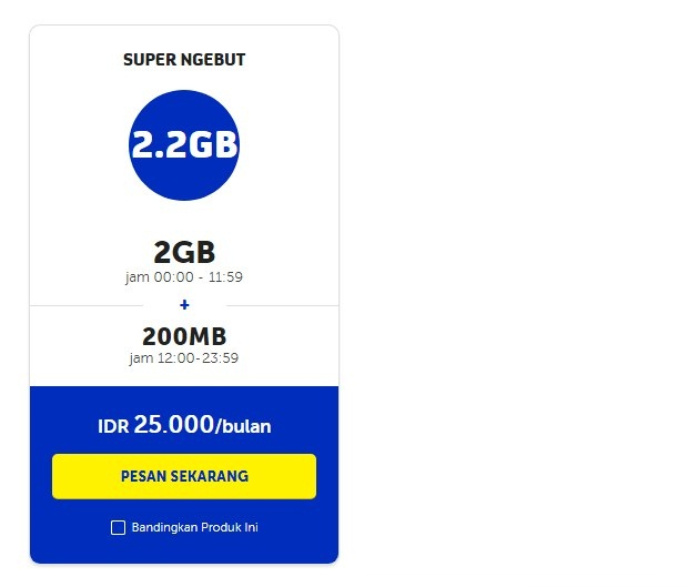 Paket Malam XL Midnight 2.2GB Bulanan Terbaru 2019