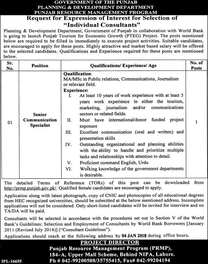 Jobs In Planning And Development Department Lahore Dec 2017