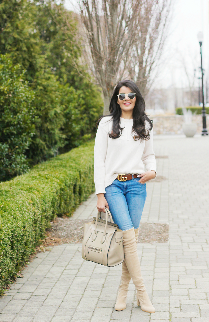 Neutral Outfit Ideas, Gucci Marmont Belt In Brown Leather God Hardware, Stuart weitzman Tieland, Stuart Weitzman Taupe OTK Boots, How To Wear Neutrals In Spring, Blue Jeans And White Top Ideas