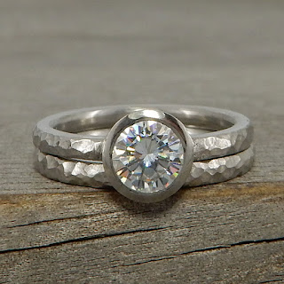 hammered palladium wedding band moissanite