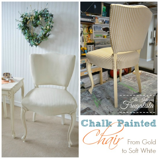 Chalk Painted French Provincial Chair Before and After