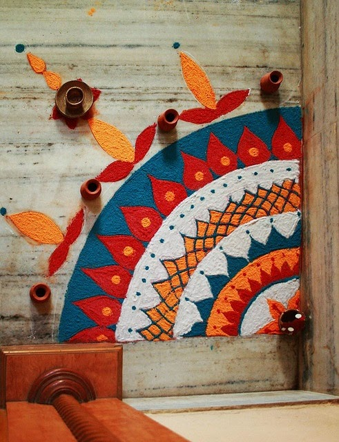 Rangoli Designs and Patterns with Lamps for Diwali 11
