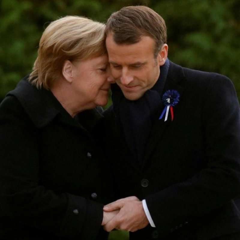 German Chancellor Angela Merkel and French President Emmanuel Macron Honor those who died in WWI. November 2018