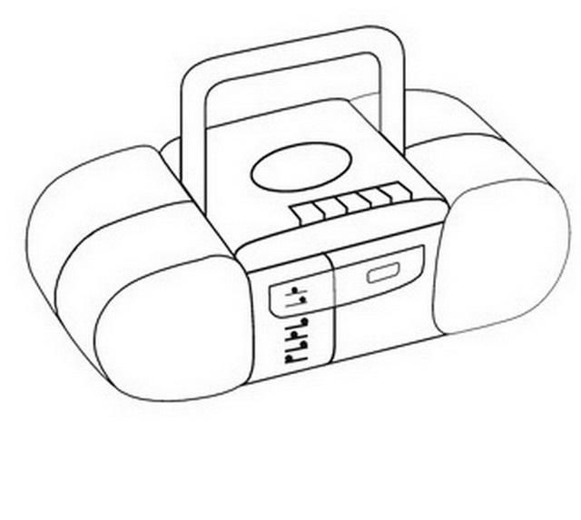 radio grabadora para colorear y pintar  dibujo views