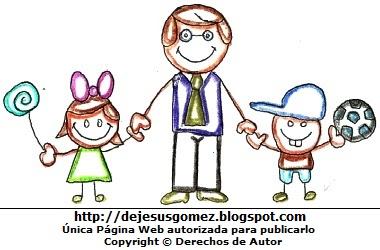 Papá tomado de la mano de sus hijos. Dibujo de papá de Jesus Gómez