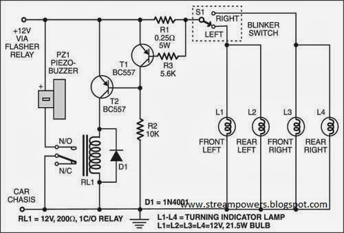 Build a Faulty Car Indicator Alarm Wiring diagram Schematic