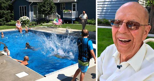 Viúvo constrói piscina para reunir vizinhos e não ficar sozinho