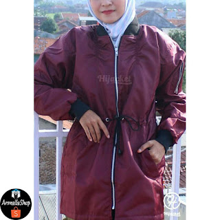 Hijacket Bomber ALBATROS Maron PARACHUTE DOURMILL DACRON Original Jaket Muslimah