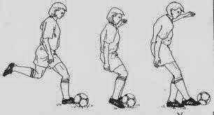 Sebutkan langkah-langkah menendang bola dengan bagian punggung kaki