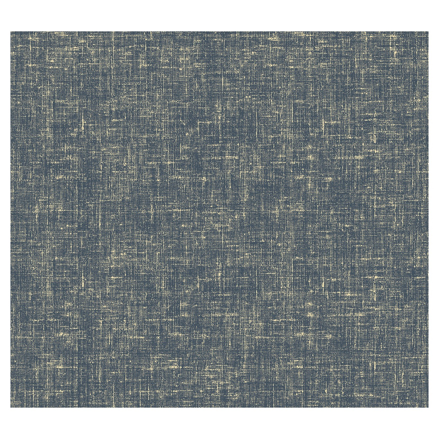 Blue and gold linen-like wallpaper