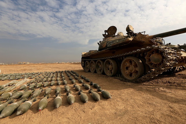 Image Attribute: A captured Islamic State tank and shells are seen at the Iraqi army base in Qaraqosh, east of Mosul, Iraq November 8, 2016. REUTERS/Zohra Bensemra/File Photo