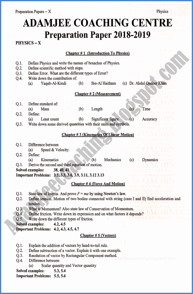 Adamjee Coaching: Physics 10th - Adamjee Coaching Guess Paper 2019