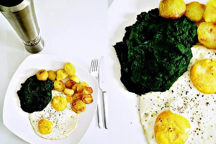 klassisches Gründonnerstag-Essen: Spinat + Spinat + Kartoffel