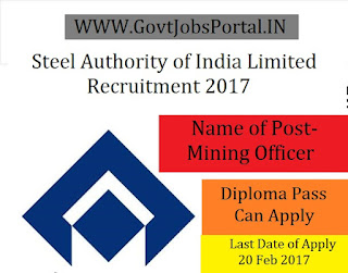 Steel Authority of India Recruitment 2017-Mining Sirdar & Operator-cum-Technician Trainee