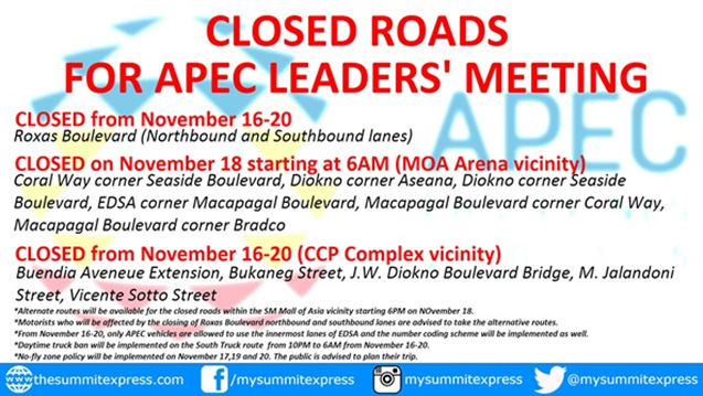 closed roads APEC Summit