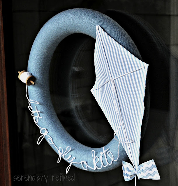 Spring Summer Blue and White Yarn String Let's Go Fly A Kite Wreath DIY Make