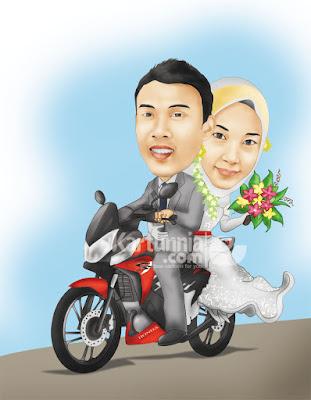 wedding karikatur pernikahan naik motor