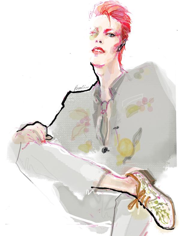 David Bowie fashion illustration, ziggy stardust look