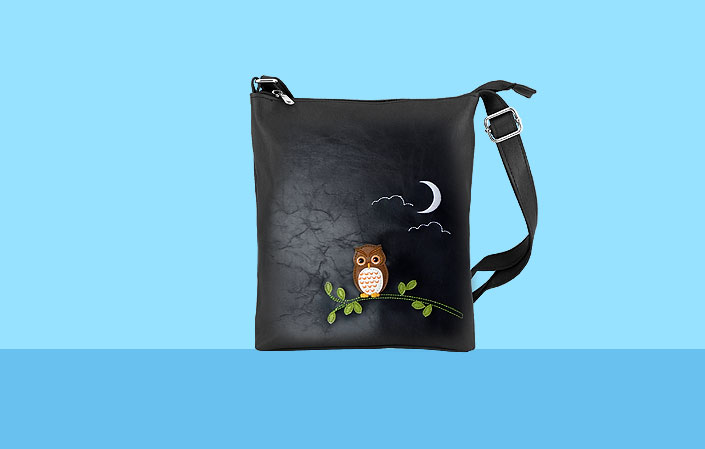 LAVISHY vegan bag with owl applique