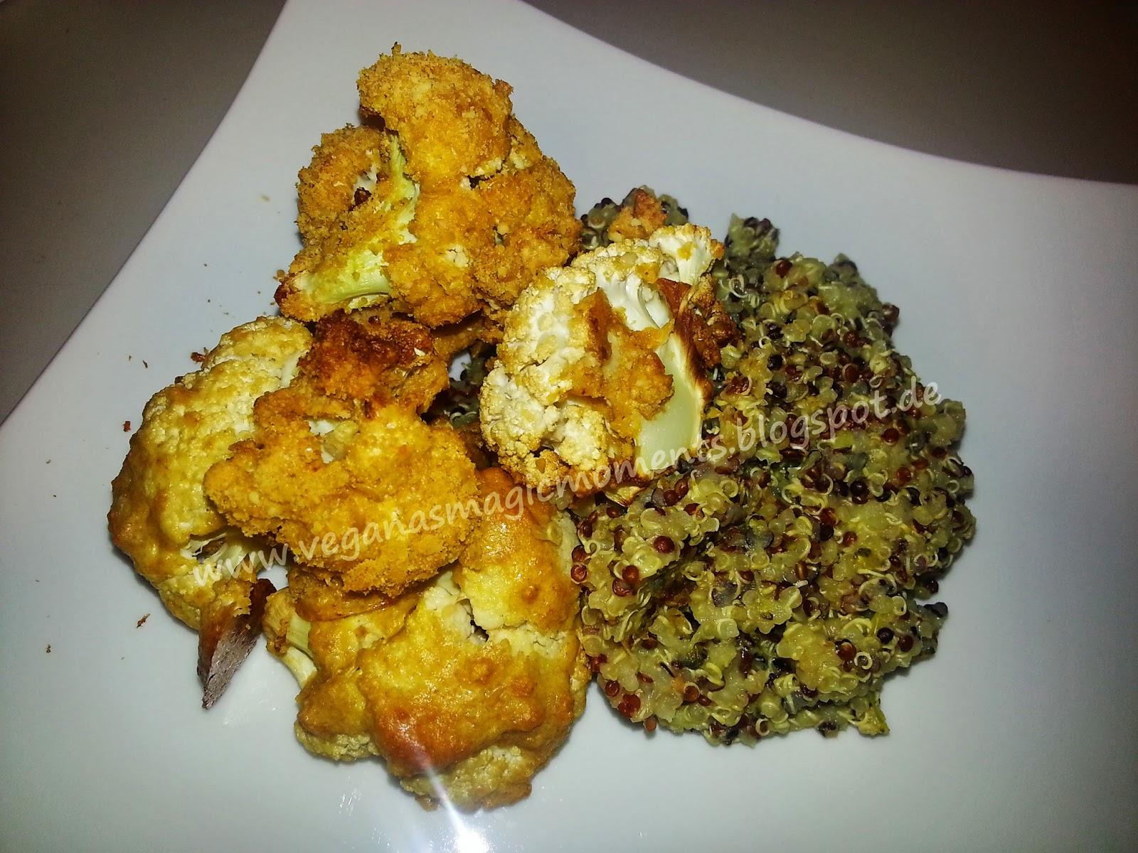 gebackener Knusper Blumenkohl an Brokkoli Quinoa