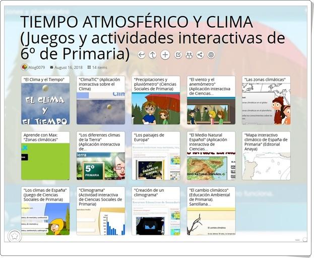"""""""14 Juegos y actividades interactivas para el estudio de EL TIEMPO ATMOSFÉRICO Y EL CLIMA en 6º de Primaria"""""""