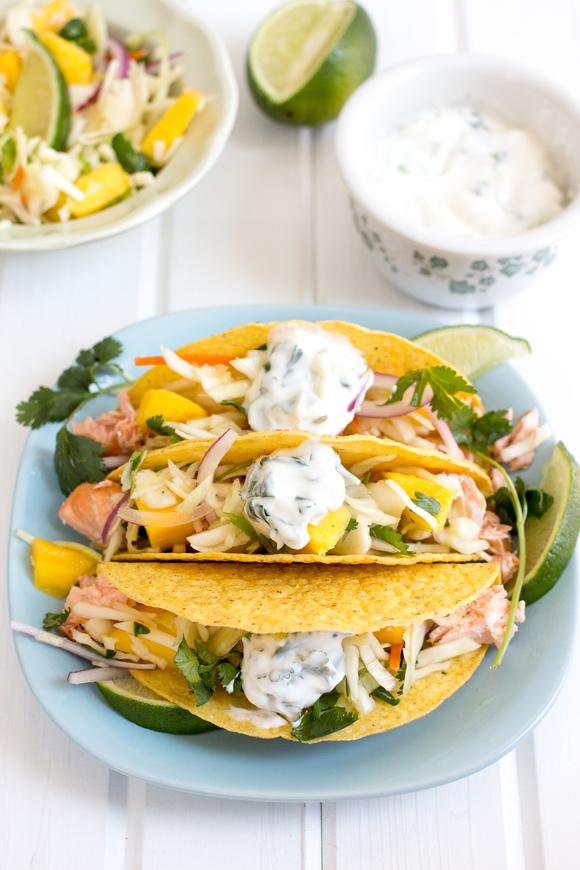 salmon tacos with mango slaw