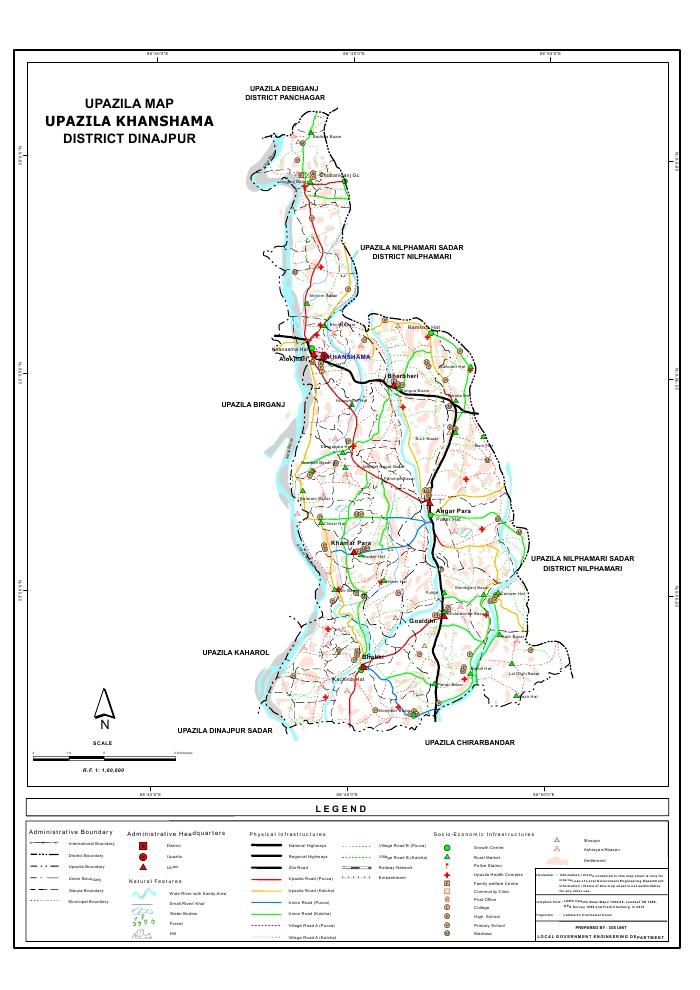 Khansama Upazila Map Dinajpur District Bangladesh