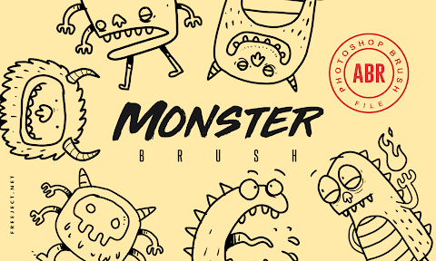 Free Download Photoshop Monster Doodle Brush - ABR File