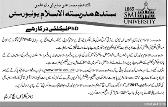 Jobs In Sindh Madressatul Islam University  21 May 2017