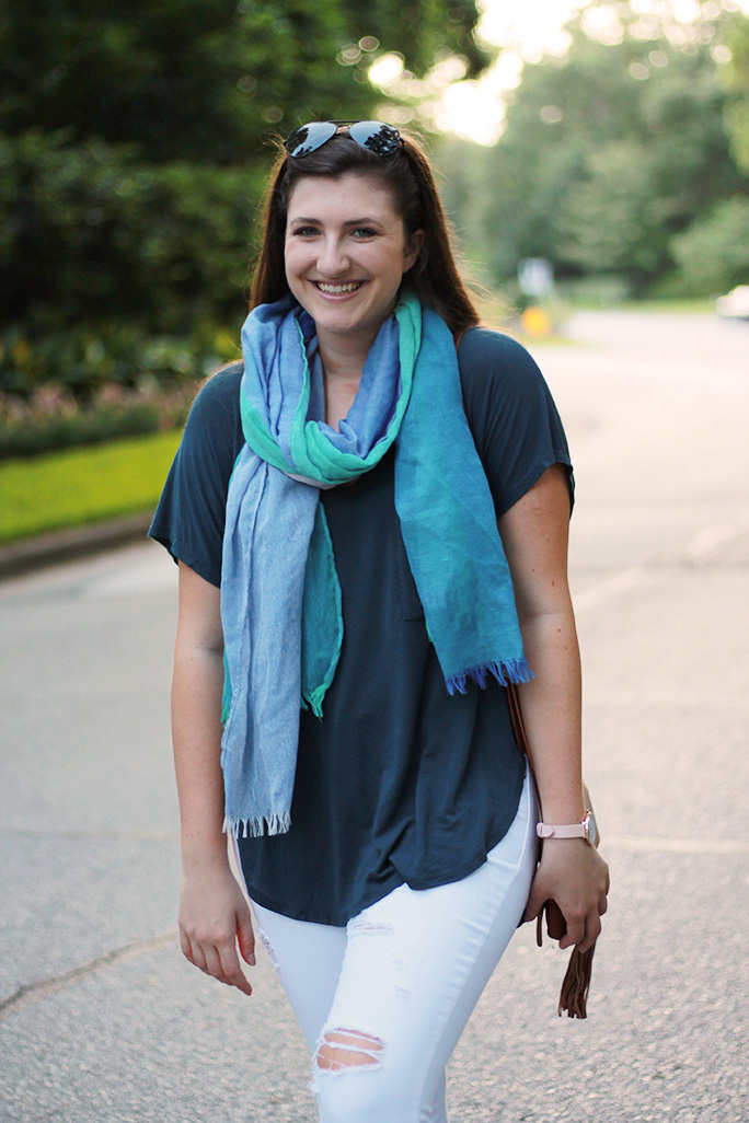 Nordstrom Calson blue checkered scarf