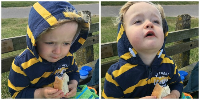 the-beach-the-bay-and-blowing-bubbles-two-pictures-toddler-huddled-eating-roll-toddler-with-head-tilted-far-back