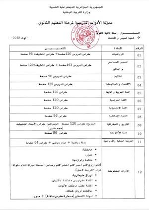قائمة الادوات المدرسية للسنة الثانية ثانوي شعبة تسيير و اقتصاد