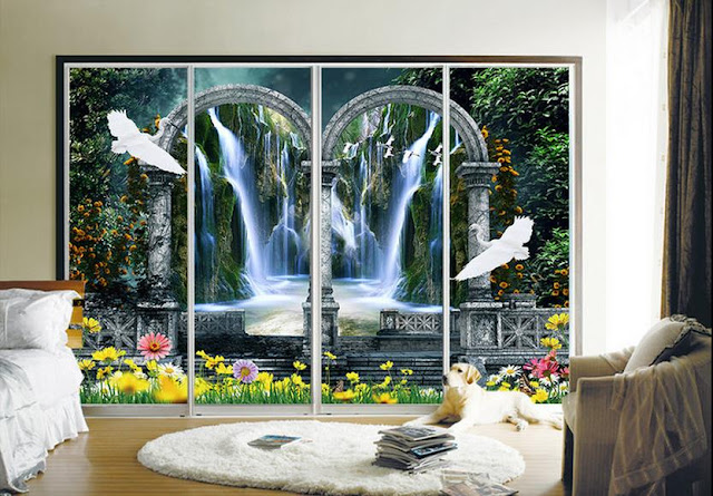 Garden wall murals 3D wallpaper living room bedroom Flower Garden green plants photo wallpaper water falls birds