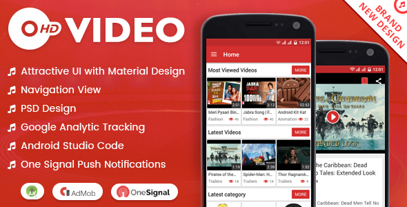 HD VIDEO + MATERIAL DESIGN + ADMOB - Codecanyon Free Download Source